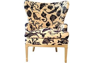 Wing Chair w/ Aquatic Fabric