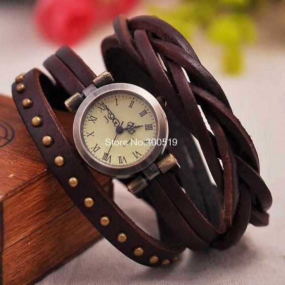 JW325 Retro Rivet Trançado Couro Strap Mulheres de pulso Pulseira Vestido Vintage Watches Relógio de pulso-in de Relógios los Aliexpress.com: