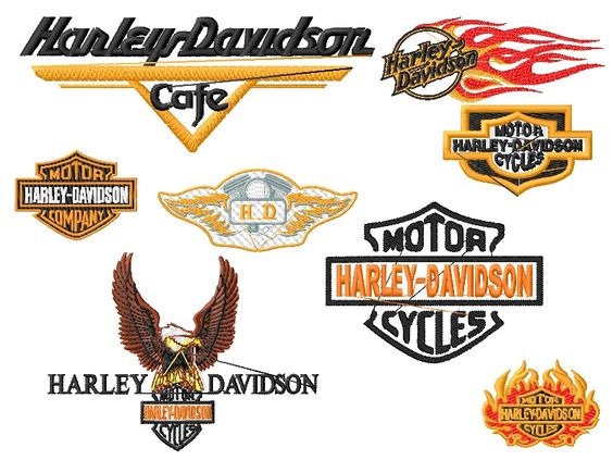 Harley davidson embroidery designs set sizes