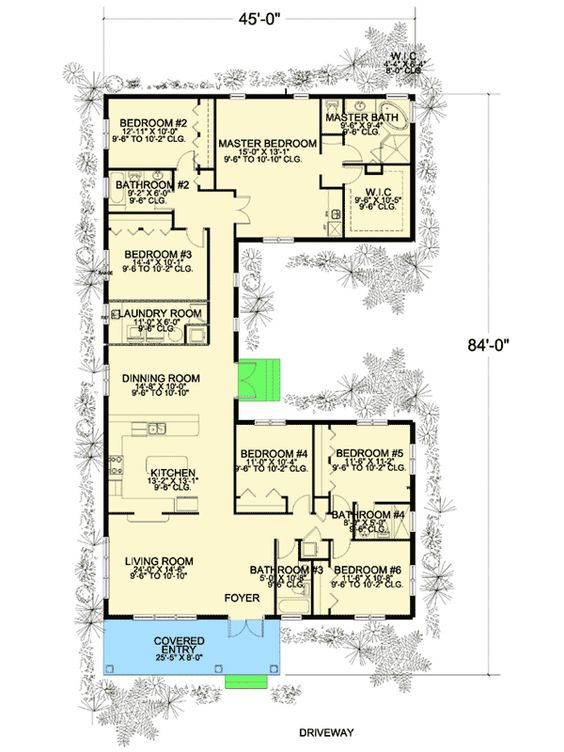 Plan 32221AA 6 Bedroom U Shaped House Plan Offices Living