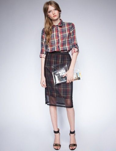 Mesh plaid skirt