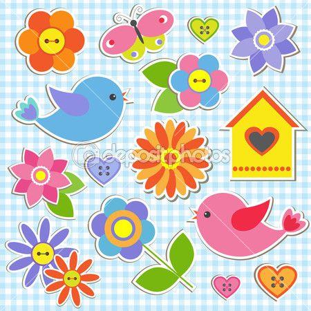 Uccelli e fiori. Vector set di adesivi — Illustrazione stock #11693226