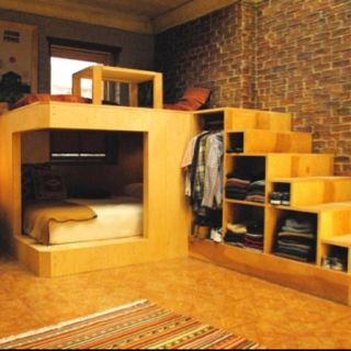 A different take on the sleeping loft... I would love to put a desk under the loft and a chill spot above it in the corner of an office somewhere..or maybe a brainstorming area?