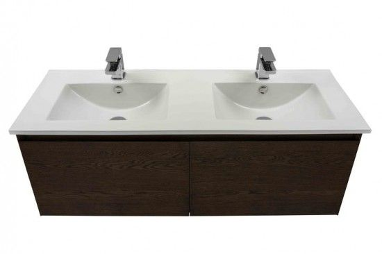 Kolum 1200 Double Basin Vanity American Walnut Vanity Double Basin Outdoor Tiles