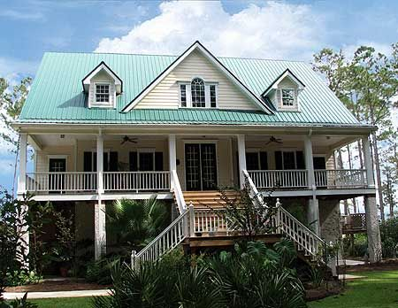 House plans country and photo galleries on pinterest for Beach house designs with wrap around porch