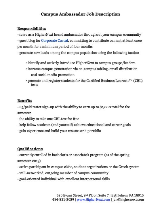 Campus Ambassador Job Description Resume -    resumesdesign - job qualifications resume