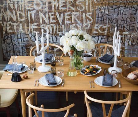 Italian Rustic: Dining Rooms, Wishbone Chairs, Graffiti Wall, Dining Table, Ideas House, Room Design, Art Wall