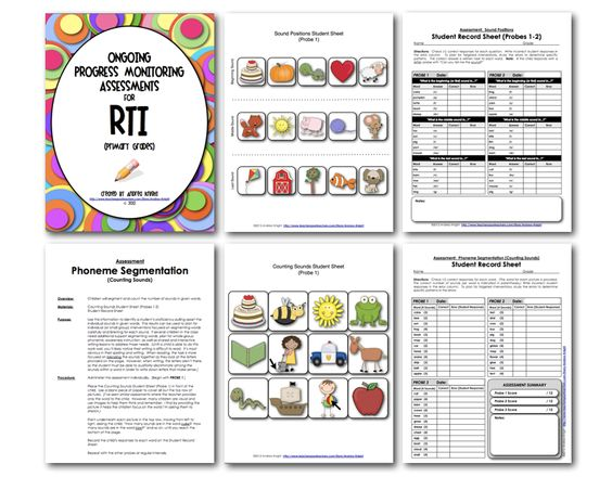 "Sample pages from ""Ongoing Progress Monitoring Assessments""  $7.00  {Click on the link for the product.}  http://www.teacherspayteachers.com/Product/Ongoing-Progress-Monitoring-Assessments-for-RTI-K-2"