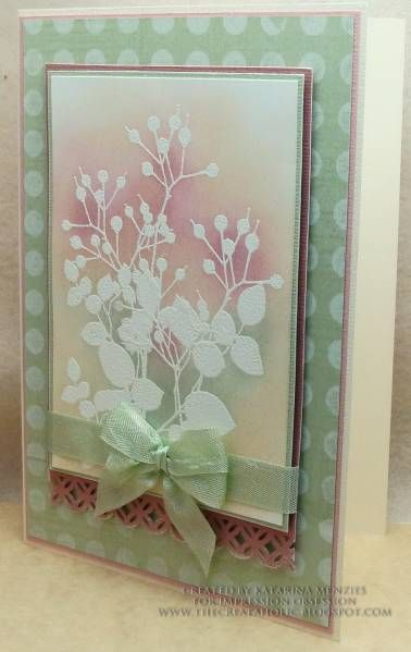"By KatarinaM at Splitcoaststampers. Stamp foliage in VersaMark and emboss in white. Sponge distress inks for background. Layer, layer, layer!  Stamp from ""Serene Silhouettes."""
