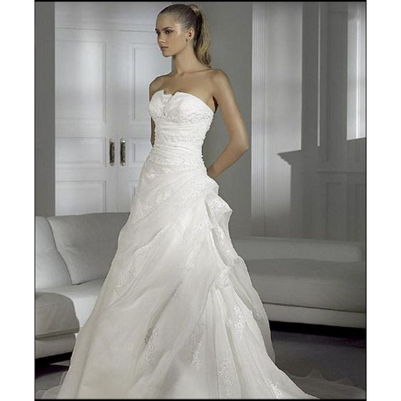 A-line Strapless Lace/Appliques Chapel Train Luxurious Natural Organza Wedding Dresses - Discount Wedding Dresses - Wedding Dresses