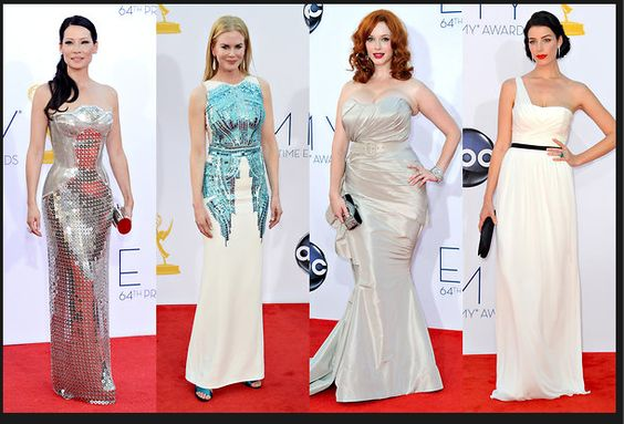 From left, Lucy Liu in Versace; Nicole Kidman in Antonio Berardi; Christina Hendricks in Christian Siriano; and Jessica Pare in Jason Wu.  Credit: From left: Kevork Djansezian/Getty Images; Paul Buck/European Pressphoto Agency; Jordan Strauss/Invision, via Associated Press; Frazer Harrison/Getty Images via NYTimes.com #Emmys