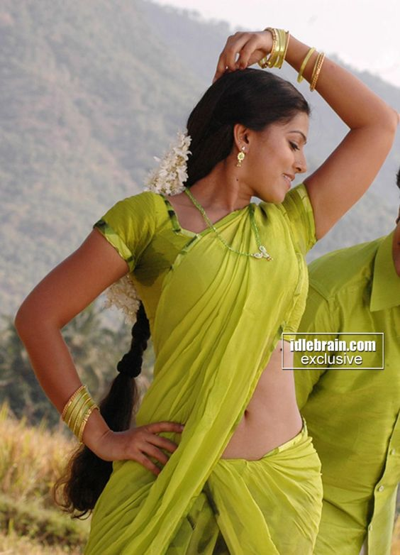Sneha In Green Saree Navel N Wet Armpit Show Indian