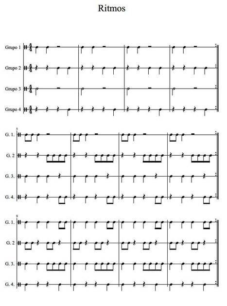 Ritmos para pequeña percusión o efectos vocales.
