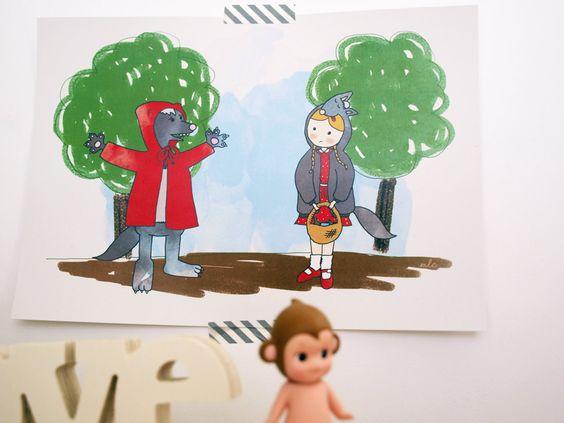 Ilustración Cuentos confundidos Caperucita y el por milowcostshop The Little Red Ridding Hood, Confused tale. A cute draw funny and with a backward history