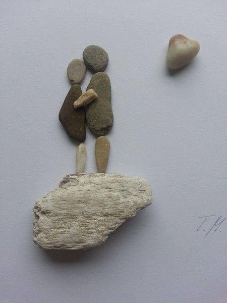Bild aus Kieselsteinen *Paar* von TAMIKRA auf DaWanda.com
