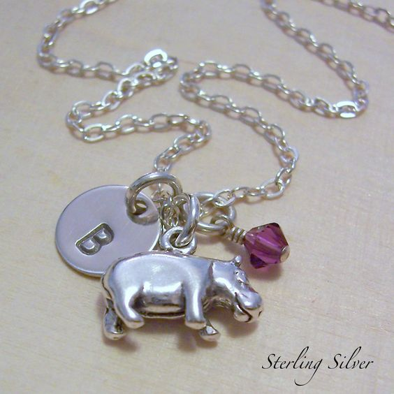 Hippopotamus Charm Necklace - Personalized Hippo Jewelry - Hand Stamped Sterling Silver - Birthstone. $37.00, via Etsy.