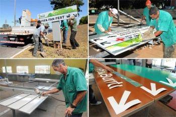 Placas da Copa do Mundo são recicladas - http://noticiasembrasilia.com.br/noticias-distrito-federal-cidade-brasilia/2014/08/05/placas-da-copa-do-mundo-sao-recicladas/