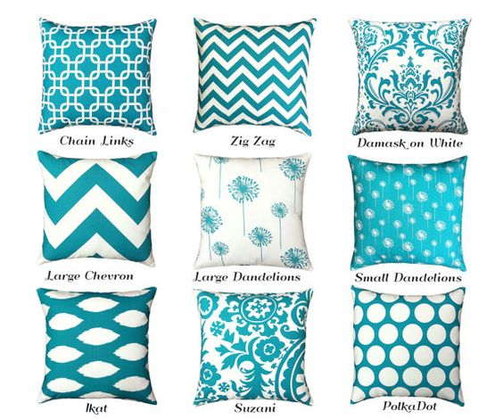 One Turquoise Zipper Pillow Cover: INVISIBLE ZIPPER! Turquoise Teal Throw Zipper Pillow Cover lumbar pillow Teal euro sham