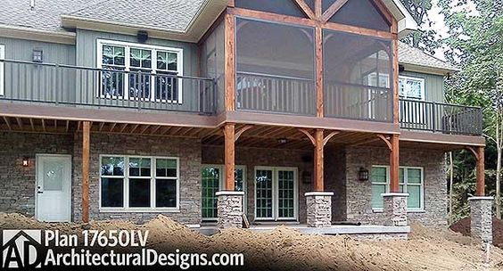 House plans theater and cottages on pinterest for Craftsman style screened porch