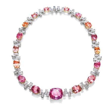 """""""Sunset"""" by Harry Winston, Padparadscha and Diamond Necklace. (Don't mind if I do!)"""