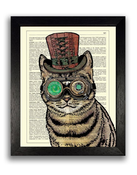 STEAMPUNK chat reproduction, Art mural chat, Illustration de chat, chat Steampunk affiche illustration, décoration murale Steampunk, image de chaton, chat peinture impression