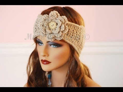 Learn How to Crochet Easy Headband Wrap with Flower (Hair Head Band ...