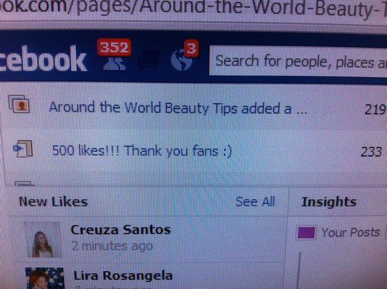 Visit my beauty blog on FB @ Around the World Beauty Tips!