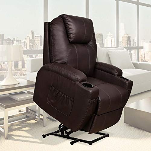 New U Max Recliner Power Lift Chair Wall Hugger Pu Leather Remote