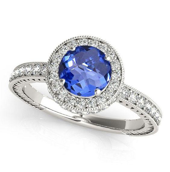 925 Silver Ring Natural Tanzanite Round Cut 6mm With White #Topaz Ring  - Natural Tanznaite #Ring