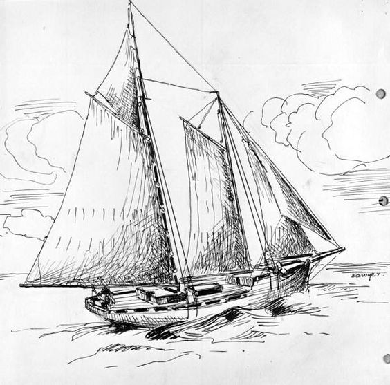 """Hero"", an old snapper boat drawn by Philip Ayers Sawyer"
