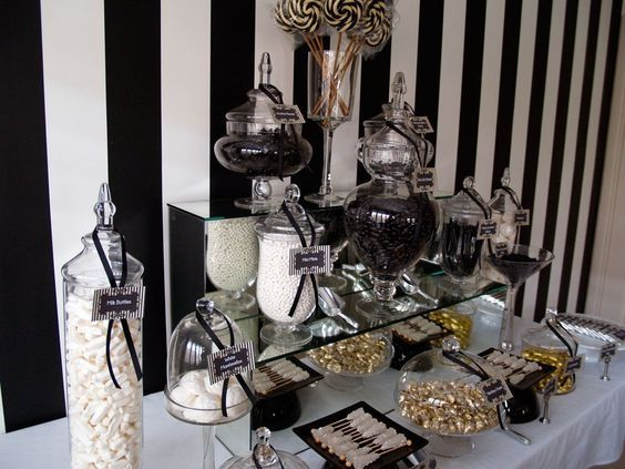 Candy Table Decor Black And White