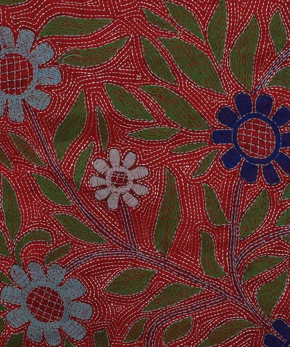 Red Multi-Colour Hand Embroidered Kantha Dupatta with Suit
