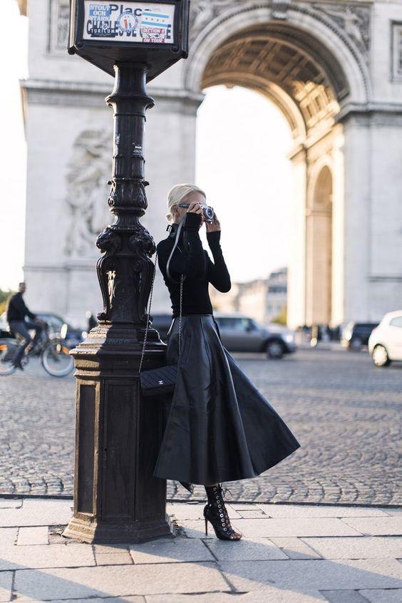 Dominate - The Haute Pursuit Barbara Bui turtleneck knit; JH Zane Faux Leather Skirt; Zana Bayne Choker; Barbara Bui booties; Vintage Chanel Clutch