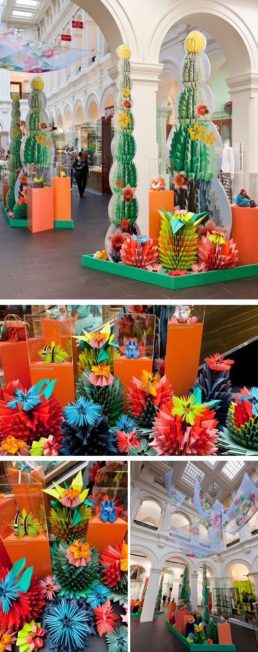 The floor of Melbourne's GPO was transformed into a series of oversized bright desert paper natives - by Gloss Creative collaboration with the creative mother daughter team of Yahua Huang and Janine Zhengs.