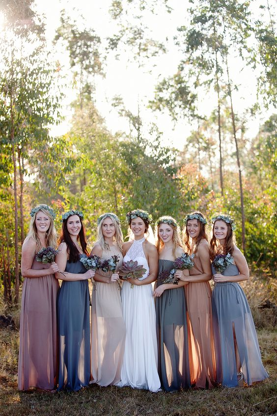 Earth tone bridesmaid dresses: