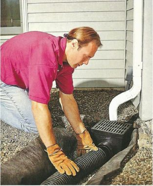 Drainage solution how to install a dry for French drain collection box