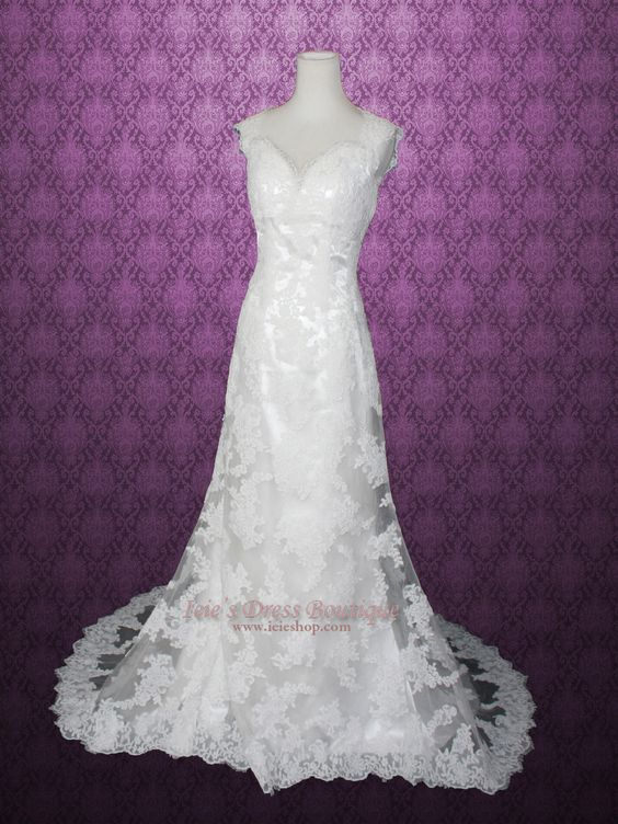 Slim A-line Lace Keyhole Back Wedding Dress made with Exquisite Lace Details. | Ieie's Bridal Wedding Dress Boutique