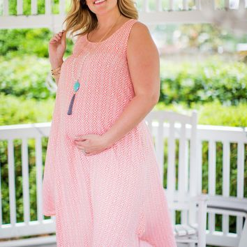 WEB EXCLUSIVE: Abstract Diamond Maternity Midi Dress in Pink