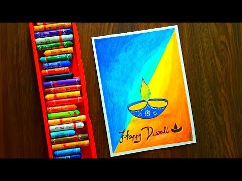 Diwali Card Drawing Very Easy With Oil Pastels For Beginners Step By Step Youtube Card Drawing Diwali Drawing Oil Pastel Drawings Easy