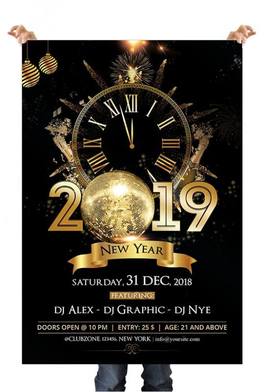 2019 Nye Night Free Psd Flyer Template Flyer Newyear Psd Photoshop Free Psd Flyer Templates Free Psd Flyer Psd Flyer Templates