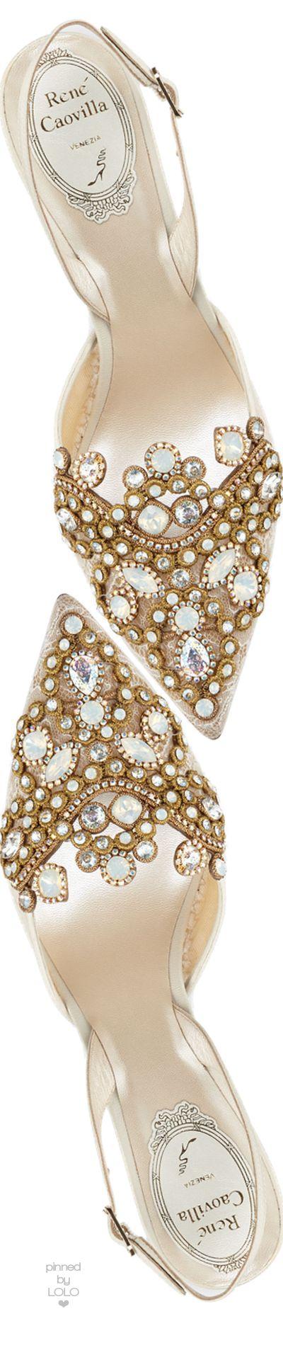 Rene Caovilla Jeweled Lace & Leather Halter Pump | LOLO❤︎
