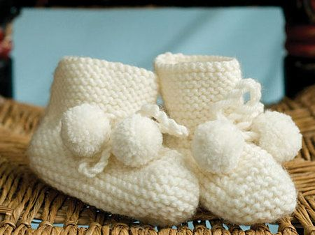 Free Knitting Pattern: Keep a little baby's feet nice and warm with this adorable Pom-Pom Booties pattern, courtesy of Ten Speed Press.