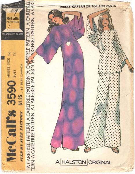 1970s Halston caftan, top, and pants pattern - McCalls 3590