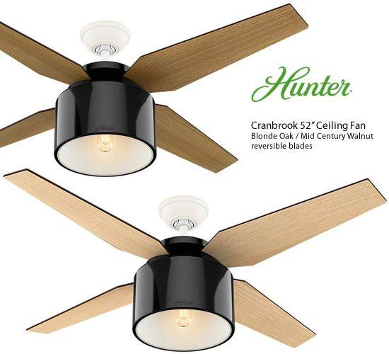 Hunter 59257 Gloss Black Cranbrook 52 Ceiling Fans Contemporary
