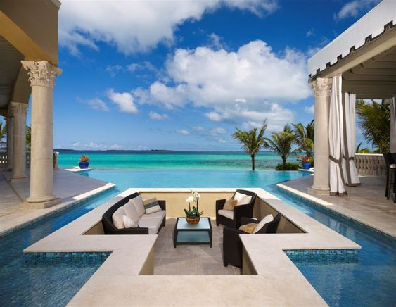 Swimming pool living room.