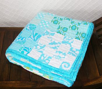 Looking for a baby quilt that incorporates aqua, green and either gray or white (or both)