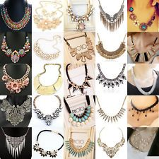 New Charming Pendant Chain Crystal Choker Chunky Statement Bib Necklace Jewelry