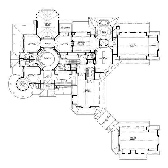 Upper Floor - CHATHAM GROVE Plan #M7785A2S2F2RD CornerStoneDesigns.com. 4 stories with 11,000 sq ft + 3280 sq ft (3) 2 car garages. 6 bedrooms, 5 full and 3 half baths, Rotunda staircase, elevator, fireplaces in Family rm, Study, Living/Music rm, Outdoor living, Master BR/Sitting rooms, Basement game/sitting rm., lg kitchen w/island butler & pantry, ex lg craft rm by kitchen, rec rm off master br, bonus rm on 3nd fl, Loft on 4th floor. IT'S A WINNER!