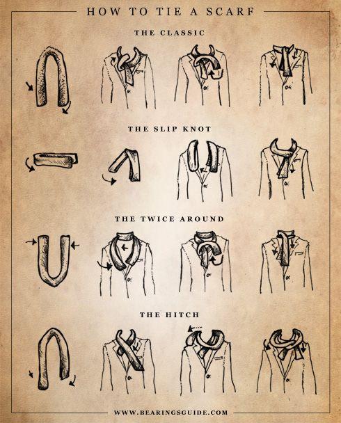 Different ways to tie a men's scarf