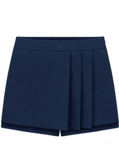 Navy Mid Waist Pleated Skirt Shorts pictures
